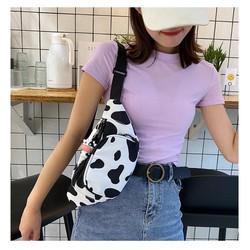 Túi đeo chéo ngực đựng điện thoại BSHT họa tiết bò sữa thời trang cho nữ MN63 không kèm phụ kiện