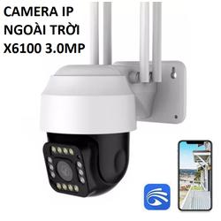 Camera IP Wifi ngoài trời dùng app Yoosee X6100 siêu sắc nét 3.0Mp 14 Led Quay màu ban đêm