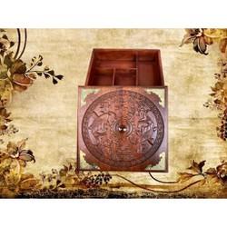 Khay đựng 5 ngăn bánh kẹo Hộp mứt trạm khắc song ngư vuông 27cm cao 10cm