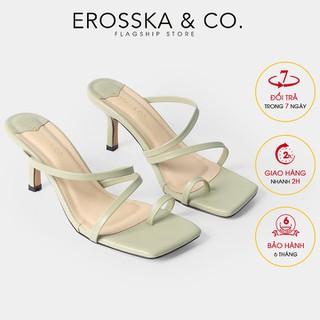Dép cao gót thời trang Erosska xỏ ngón phong cách Hàn Quốc cao 7cm màu xanh rêu _ EM065 - EM065GE thumbnail