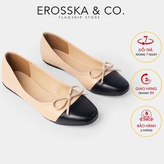 Giày búp bê Erosska thời trang kiểu dáng Hàn Quốc đế cao su da mềm đính nơ màu nude _ ef011 - ef011NU thumbnail