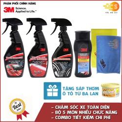 Bộ 5 sản phẩm MMM chăm sóc, bảo dưỡng nội - ngoại thất, chống bám nước kính xe chuyên dụng tặng kèm hủ organic