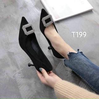 Giày cao got nữ đính đá chất liệu nhung - t199 thumbnail