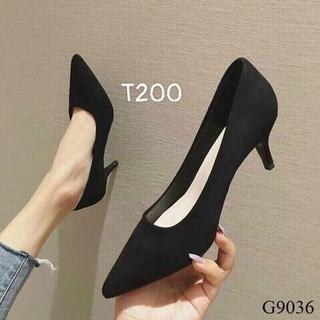 Giày cao gót nhung mui nhon cao 7cm - t200 thumbnail