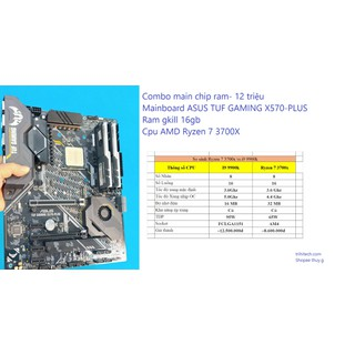Combo Mainboard ASUS TUF GAMING X570-PLUS Ram gkill 16gb Cpu ryzen 7 3700x - Mainboard ASUS TUF GAMING X570-PLUS thumbnail