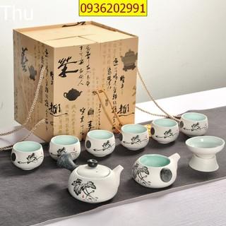 Bộ ấm chén pha trà đạo cao cấp nhỏ gọn - bộ ấm chén pha trà sứ - Bộ ấm chén pha trà đạo thumbnail