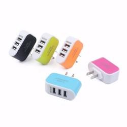 CỦ SẠC THÔNG MINH 3 CỔNG USB NHIỀU MÀU (GIAO MÀU NGẪU NHIÊN)