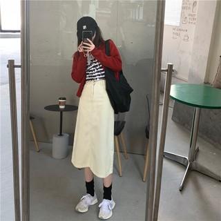 Chân váy denim dài dáng chữ A cạp cao phong cách ulzzang Hàn Quốc - CV009 thumbnail