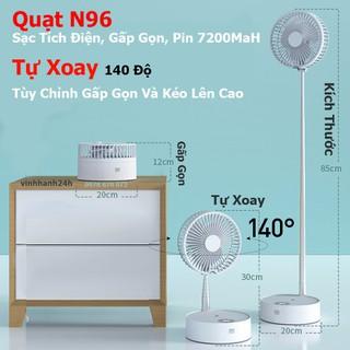 Quạt N96 Tự xoay 140 độ - Sạc tích điện - Gấp gọn - Pin 7200MaH - N96 thumbnail
