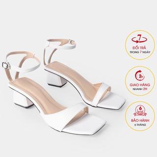 Giày sandal cao gót Erosska mũi vuông phối dây mảnh quai ngang cao 3cm màu trắng - EB032 - EB032WH thumbnail