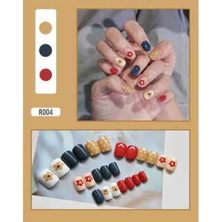 [HN Sẵn hàng] Móng Giả có Keo LCR004 Hoa Màu Đỏ Xanh- Hộp Nails 24 móng tay giả nhiều size giá rẻ, tự làm nail tại nhà - MG040842 thumbnail