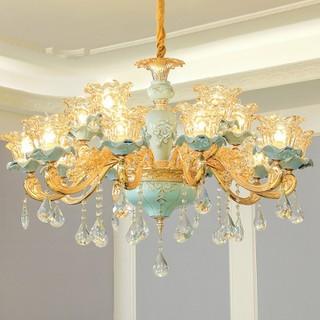 đèn chùm trang trí phòng khách - hội trường khách sạn - phong cách tân cổ điển - đèn chùm trang trí J11 thumbnail