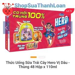 [HSD T10-2021] [SƯU TẦM QUÀ] THỨC UỐNG SỮA TRÁI CÂY HERO VỊ DÂU - THÙNG 48 HỘP X 110ML