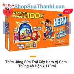 [HSD T10-2021] [SƯU TẦM QUÀ] THỨC UỐNG SỮA TRÁI CÂY HERO VỊ CAM - THÙNG 48 HỘP X 110ML