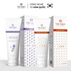 Bộ sản phẩm tắm trắng toàn thân Truesky VIP13 gồm 1 kem dưỡng trắng da lavender 100ml & 1 tẩy tế bào chết 100ml
