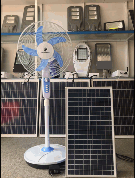 Hình ảnh Quạt điện năng lượng mặt trời chính hãng Mayor Wolf quạt chạy 10 đếm 15 tiếng