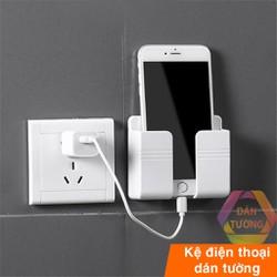 Khay để  điều khiển xẻ rãnh - Kệ điện thoại dán tường đã năng, với miếng dán tường chắc chắn.