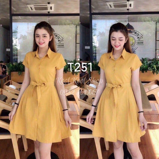 Đầm sơmi chéo nhung - t251 thumbnail