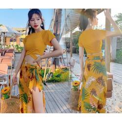 Bikini đi biển  QUEEN BIKINI  Đồ bơi nữ kín đáo Quảng châu có áo khoác ngoài BIK32
