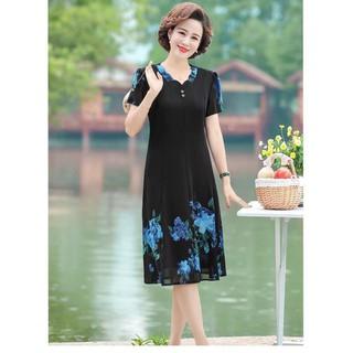 Đầm dự tiệc trung niên - Đầm suông 8 mảnh in hoa đính nút - d3323 thumbnail