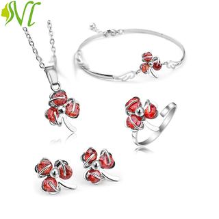 Bộ trang sức nữ 4 món dễ thương đỏ mạnh mẽ ( xem hàng trước khi nhận) - đob thumbnail