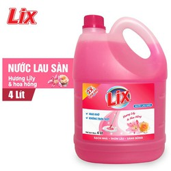 Nước lau sàn Lix hương lily và hoa hồng 4 lít - Đậm đặc gấp 2 lần