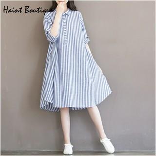Đầm váy sơ mi dáng suông form rộng Haint Boutique kèm dây thắt eo Da132 - da132. thumbnail