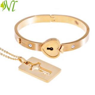 Vòng tay tình nhân ổ khóa dây chuyền chìa khóa ( xem hàng trước khi nhận) - khoavng thumbnail