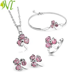 Bộ trang sức nữ 4 món dễ thương hồng nữ tính ( xem hàng trước khi nhận) - bohong thumbnail