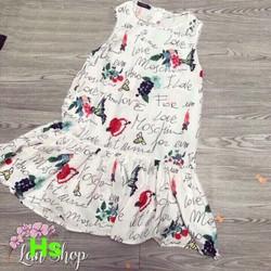 Đầm suông đuôi cá  vải đũi tơ 39-70kg họa tiết, hoa quả, hoa  buớm xinh