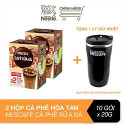 [Tặng 1 ly giữ nhiệt] Combo 2 hộp cà phê hòa tan Nescafe 3in1 cà phê sữa đá (Hộp 10 gói x 24g)