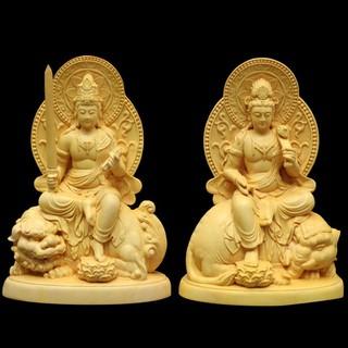 Bộ tượng phật Văn Thù Bồ Tát và Phổ Hiền Bồ Tát bằng gỗ hoàng dương V550 - combo2sp thumbnail