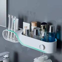 Gía để bàn chải - kem đánh răng KIỂU XOẮN kèm kệ đựng mỹ phẩm treo tường nhà tắm thông minh