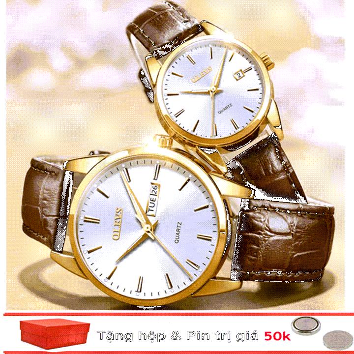 Đồng hồ đôi dây da Đồng hồ đôi dây da OLEVS 6898 thời trang chống thấm nước - Giá 1 chiếc 15
