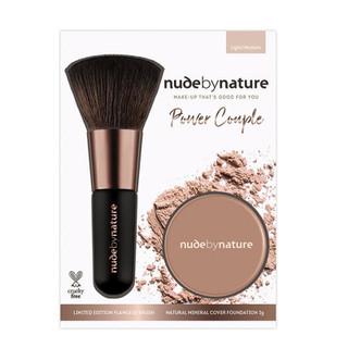 Bộ Phấn Nền Kèm Cọ Trang Điểm Nude by Nature Power Couple Foundation & Brush Tông Da Sáng Trung Bình - nudebynature_set thumbnail