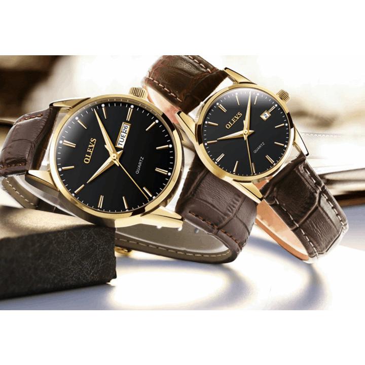 Đồng hồ đôi dây da Đồng hồ đôi dây da OLEVS 6898 thời trang chống thấm nước - Giá 1 chiếc 18