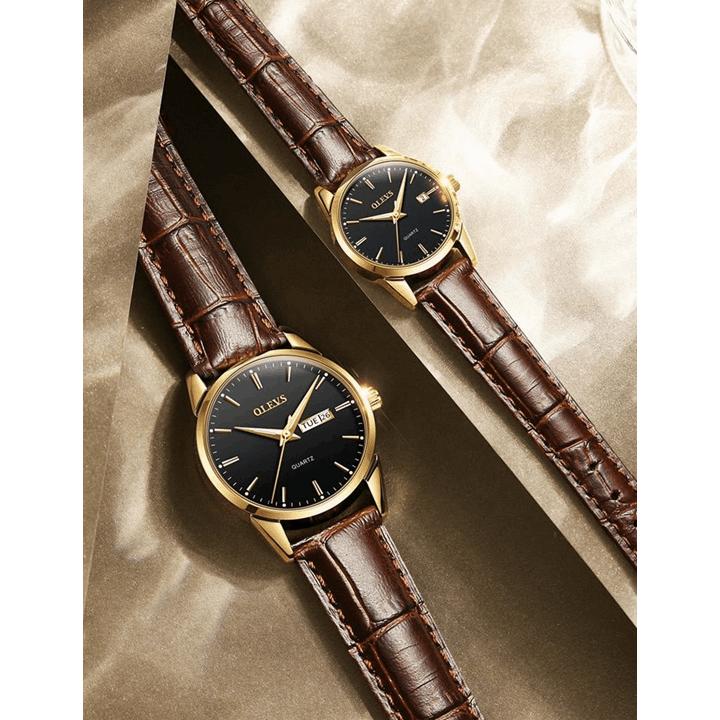Đồng hồ đôi dây da Đồng hồ đôi dây da OLEVS 6898 thời trang chống thấm nước - Giá 1 chiếc 16