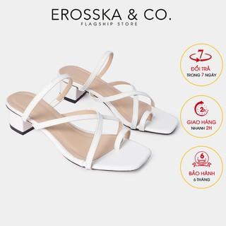 Dép cao gót thời trang Erosska xỏ ngón phối dây phong cách Hàn Quốc cao 3cm màu trắng _ EM066 - EM066WH thumbnail