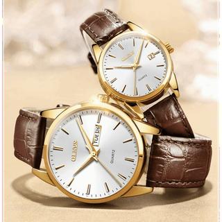 Đồng hồ đôi dây da Đồng hồ đôi dây da OLEVS 6898 thời trang chống thấm nước - Giá 1 chiếc 4