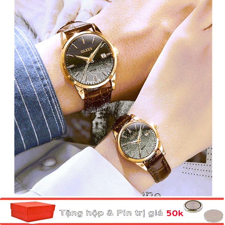 Đồng hồ đôi dây da Đồng hồ đôi dây da OLEVS 6898 thời trang chống thấm nước - Giá 1 chiếc 14