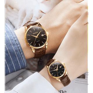 Đồng hồ đôi dây da Đồng hồ đôi dây da OLEVS 6898 thời trang chống thấm nước - Giá 1 chiếc 2