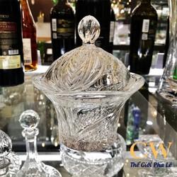 Khay Hũ Đựng Bánh Kẹo Mứt TẾT Âu Thố Có Nắp Pha Lê Tiệp Khắc Bohemia Crystal 58500 15.5cm