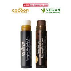Combo son tẩy da chết môi Cà phê đắk lắk cocoon5g+son dưỡng môi dầu dừa bến tre cocoon5g