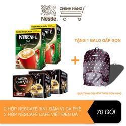 [Tặng 1 balo gấp gọn] Combo 2 hộp Nescafe 3in1 rang xay đậm vị cà phê (hộp 20 gói x 17g) + 2 Hộp Nescafé café Việt đen đá (hộp 15 gói x 16g)