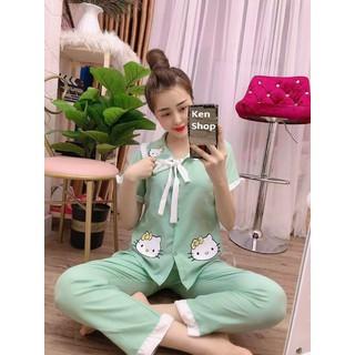 Bộ pijama kate lụa tiểu thư - quần dài - ẢNH THẬT - CHO XEM HÀNG - 128 thumbnail