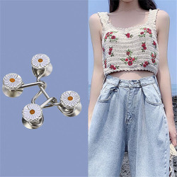 Nút cài, khuy cài, nút gài điều chỉnh lưng quần jean quần bò cạp rộng cho nữ thiết kế hình hoa cúc dễ thương