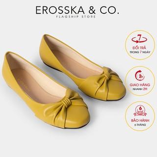 Giày búp bê Erosska thời trang mũi tròn phối nơ thắt ngang điệu đà êm chân màu vàng _ EF008 - EF008YE thumbnail
