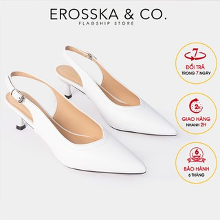 Giày cao gót Erosska thời trang mũi nhọn gót hở phối dây quai mảnh cao 5cm màu trắng - CL011 - CL011WH thumbnail