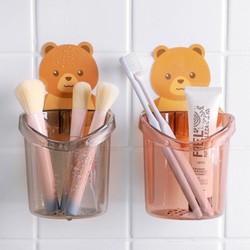 Cốc gấu dán tường đựng bàn chải kem đánh răng đa năng