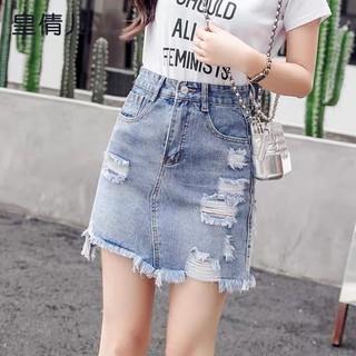 Quần váy jean BigSize lưng cao phom A nhẹ có túi nắp nhỏ, co dãn mạnh màu xanh nhạt Rách kiểu 3873 - 3873 thumbnail